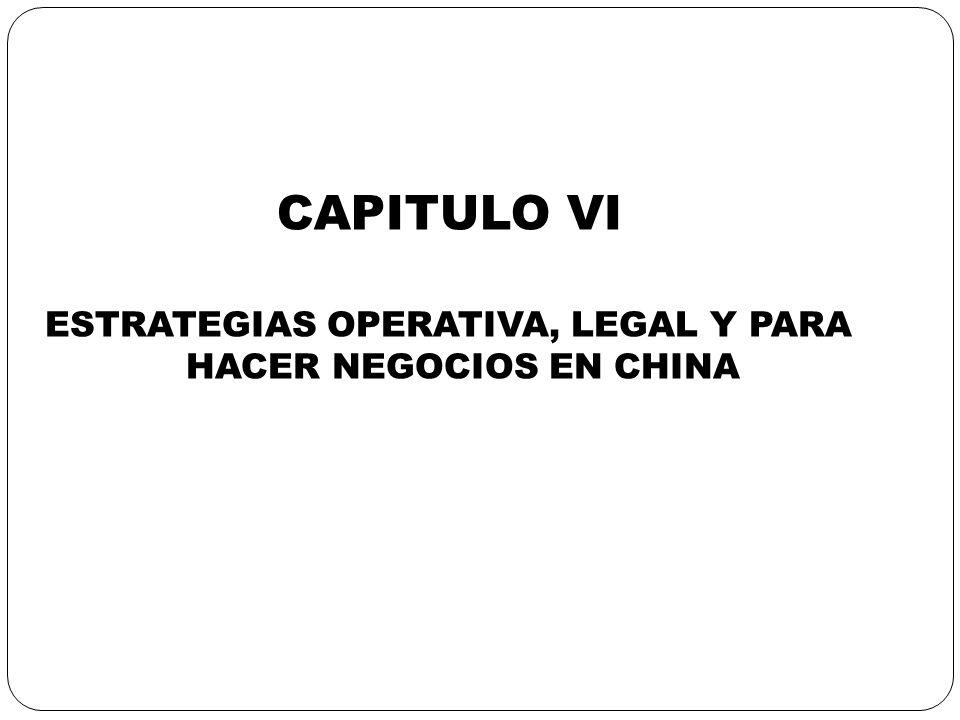 ESTRATEGIAS OPERATIVA, LEGAL Y PARA HACER NEGOCIOS EN CHINA