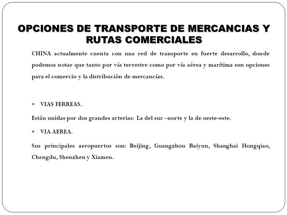 OPCIONES DE TRANSPORTE DE MERCANCIAS Y RUTAS COMERCIALES