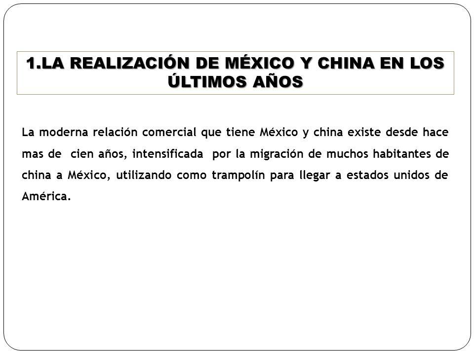 1.LA REALIZACIÓN DE MÉXICO Y CHINA EN LOS ÚLTIMOS AÑOS