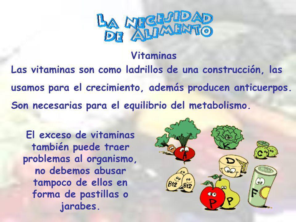 Vitaminas Las vitaminas son como ladrillos de una construcción, las. usamos para el crecimiento, además producen anticuerpos.
