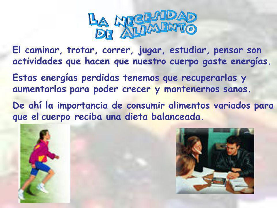 El caminar, trotar, correr, jugar, estudiar, pensar son actividades que hacen que nuestro cuerpo gaste energías.