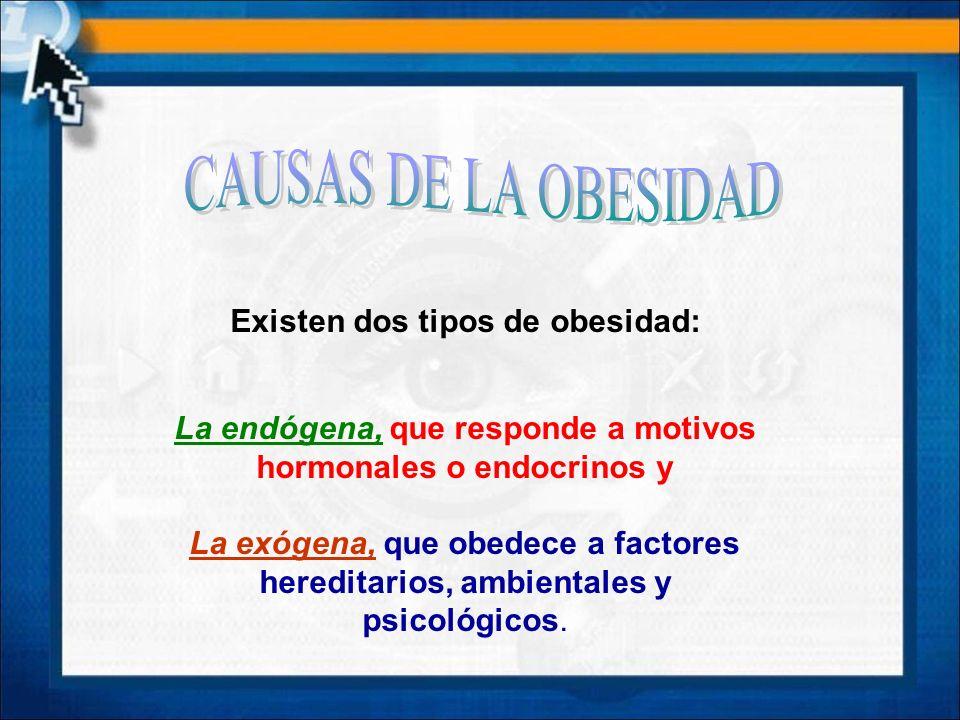 CAUSAS DE LA OBESIDAD Existen dos tipos de obesidad: