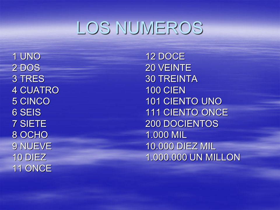 LOS NUMEROS 1 UNO 2 DOS 3 TRES 4 CUATRO 5 CINCO 6 SEIS 7 SIETE 8 OCHO