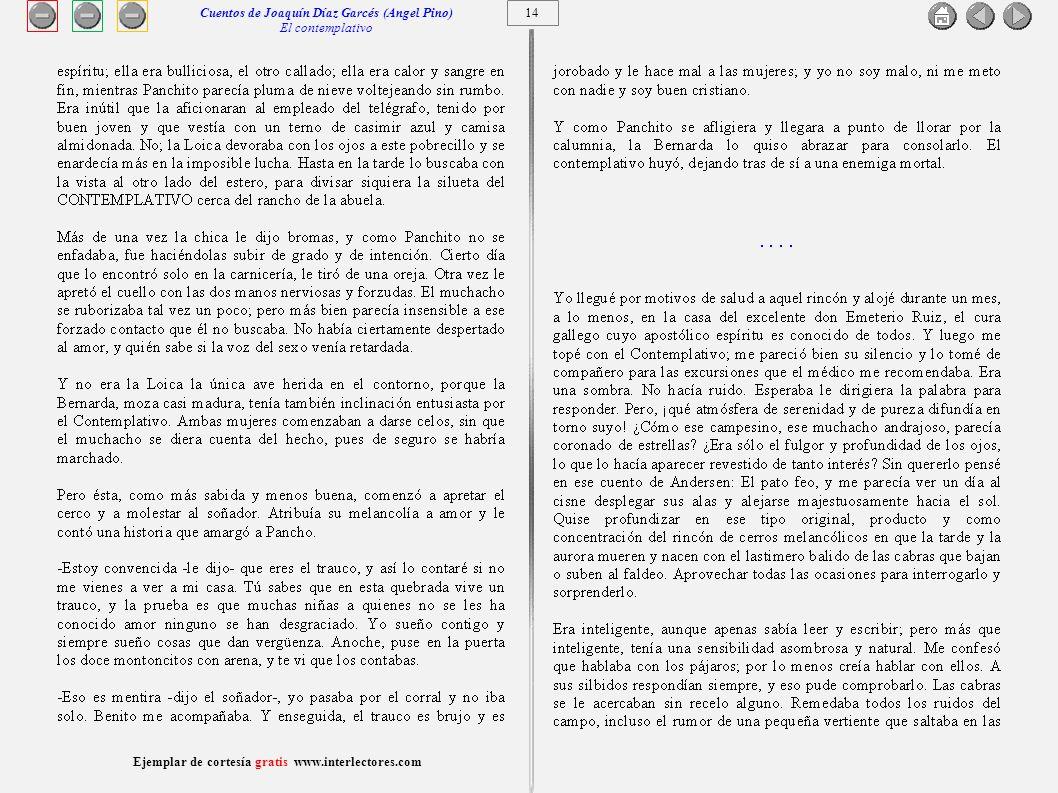 Cuentos de Joaquín Díaz Garcés (Angel Pino) El contemplativo 14