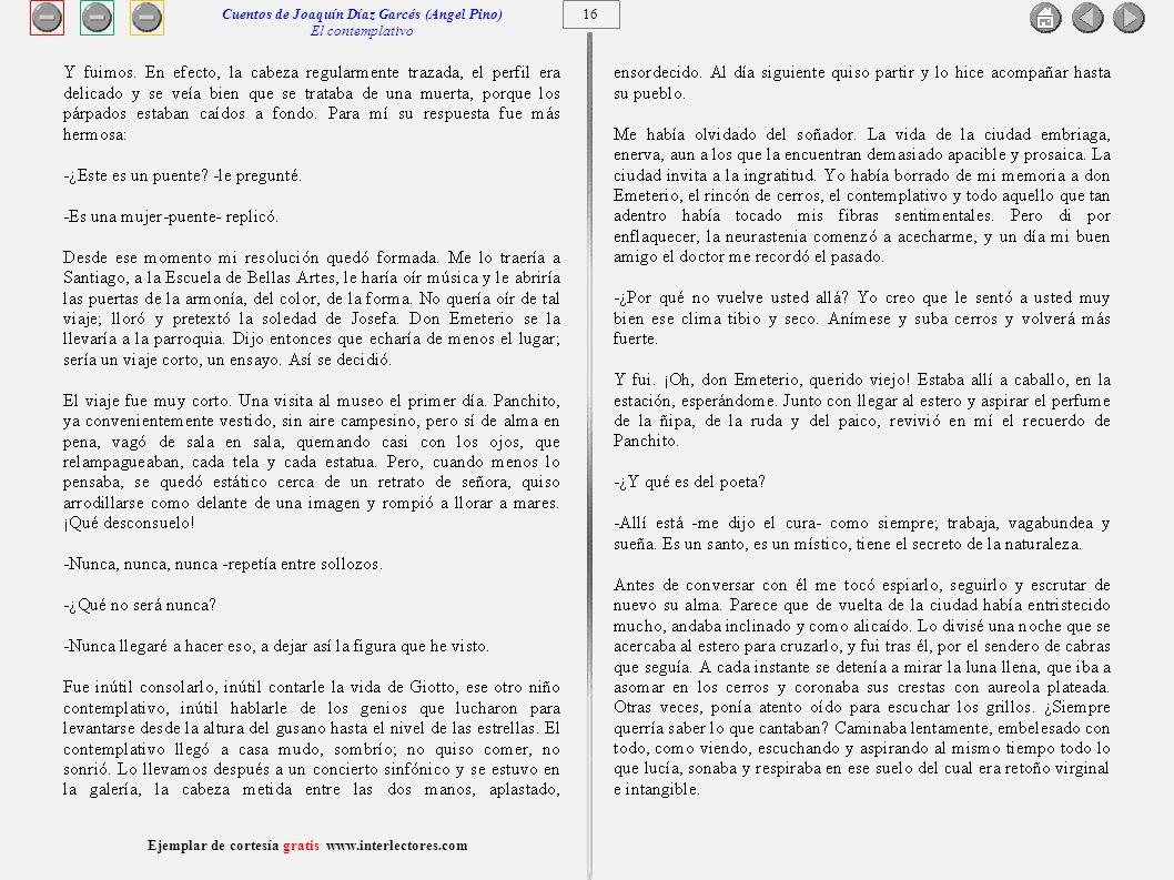 Cuentos de Joaquín Díaz Garcés (Angel Pino) El contemplativo 16