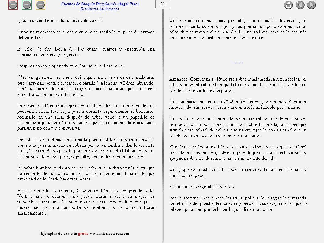 Cuentos de Joaquín Díaz Garcés (Angel Pino) El tránsito del demonio 32