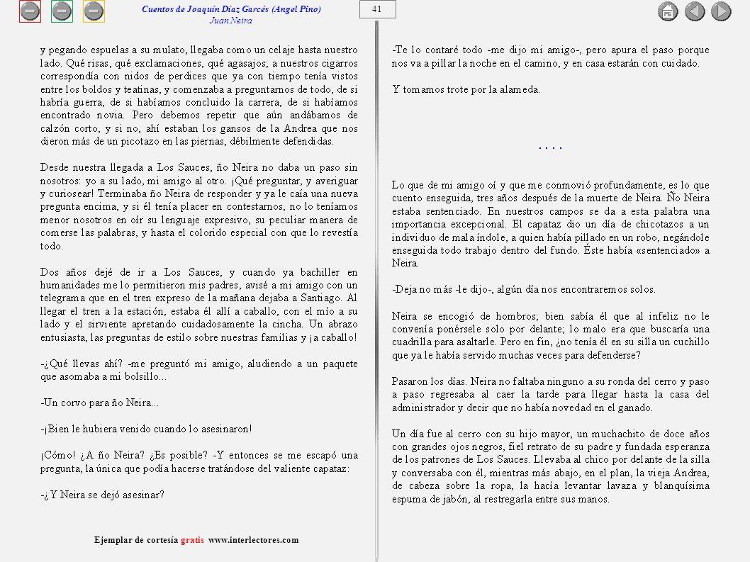 Cuentos de Joaquín Díaz Garcés (Angel Pino) Juan Neira 41