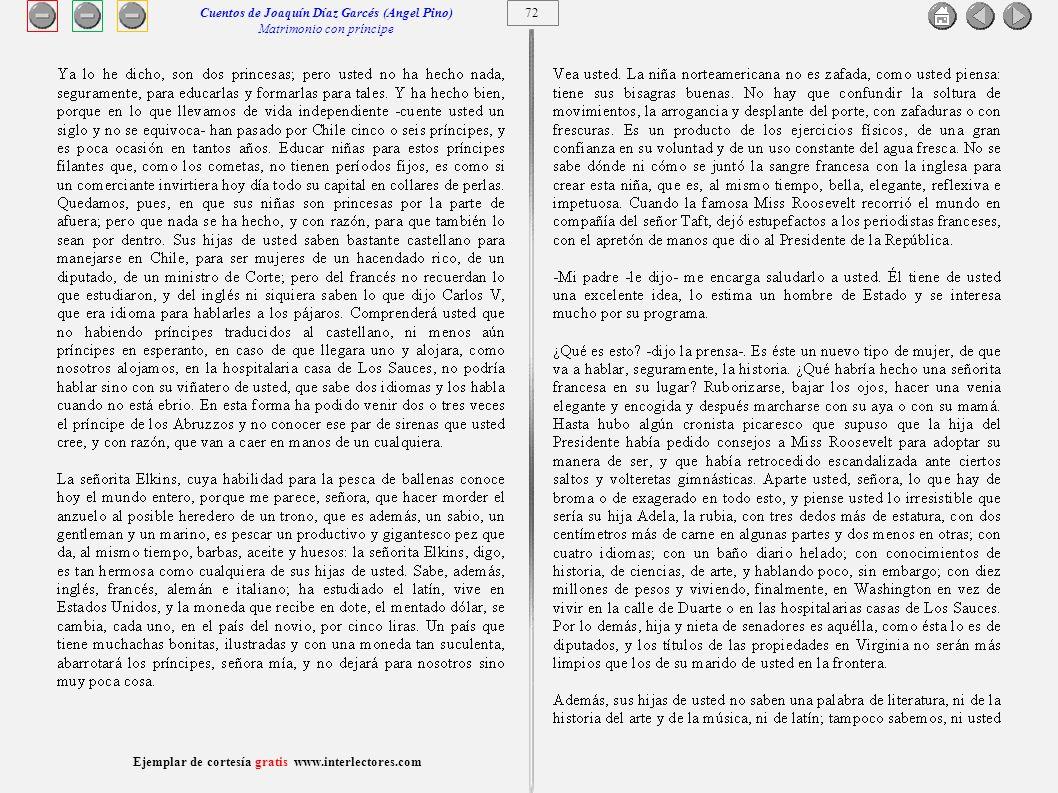Cuentos de Joaquín Díaz Garcés (Angel Pino) Matrimonio con príncipe 72