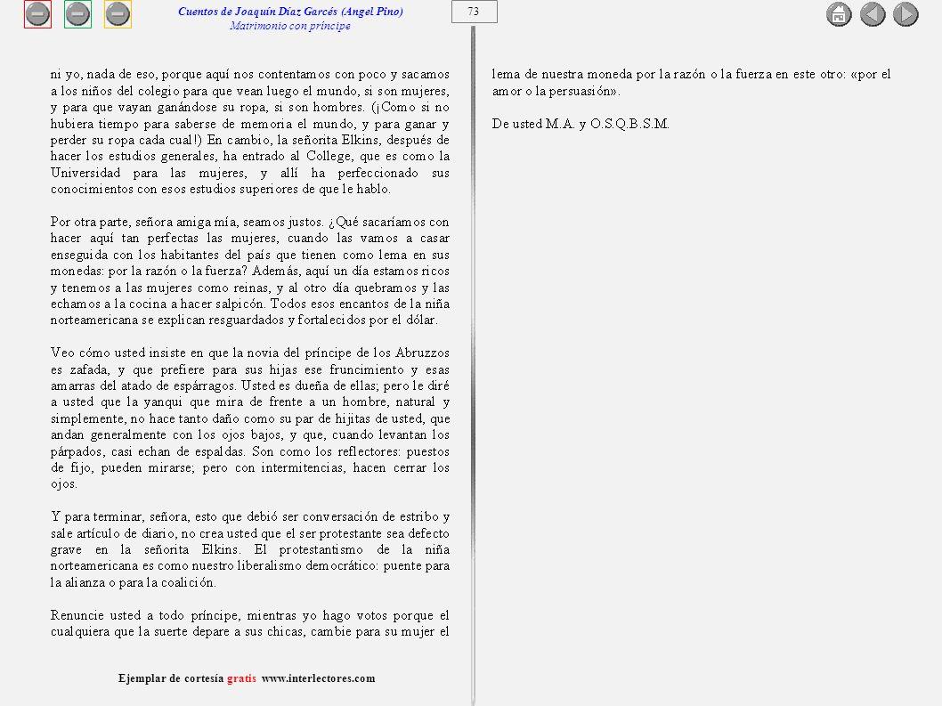 Cuentos de Joaquín Díaz Garcés (Angel Pino) Matrimonio con príncipe 73