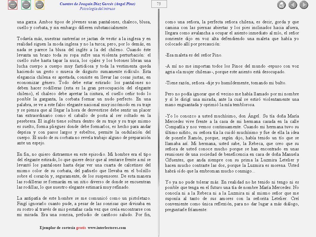 Cuentos de Joaquín Díaz Garcés (Angel Pino) Psicología del intruso 75