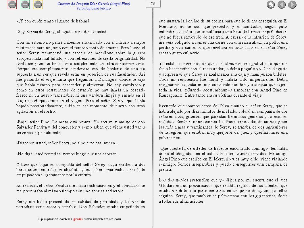 Cuentos de Joaquín Díaz Garcés (Angel Pino) Psicología del intruso 76