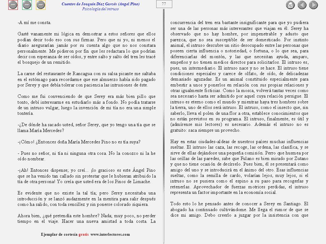 Cuentos de Joaquín Díaz Garcés (Angel Pino) Psicología del intruso 77