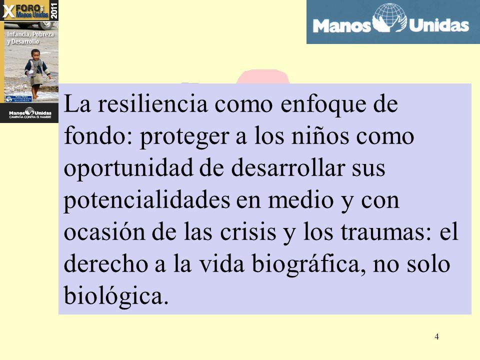 La resiliencia como enfoque de fondo: proteger a los niños como oportunidad de desarrollar sus potencialidades en medio y con ocasión de las crisis y los traumas: el derecho a la vida biográfica, no solo biológica.