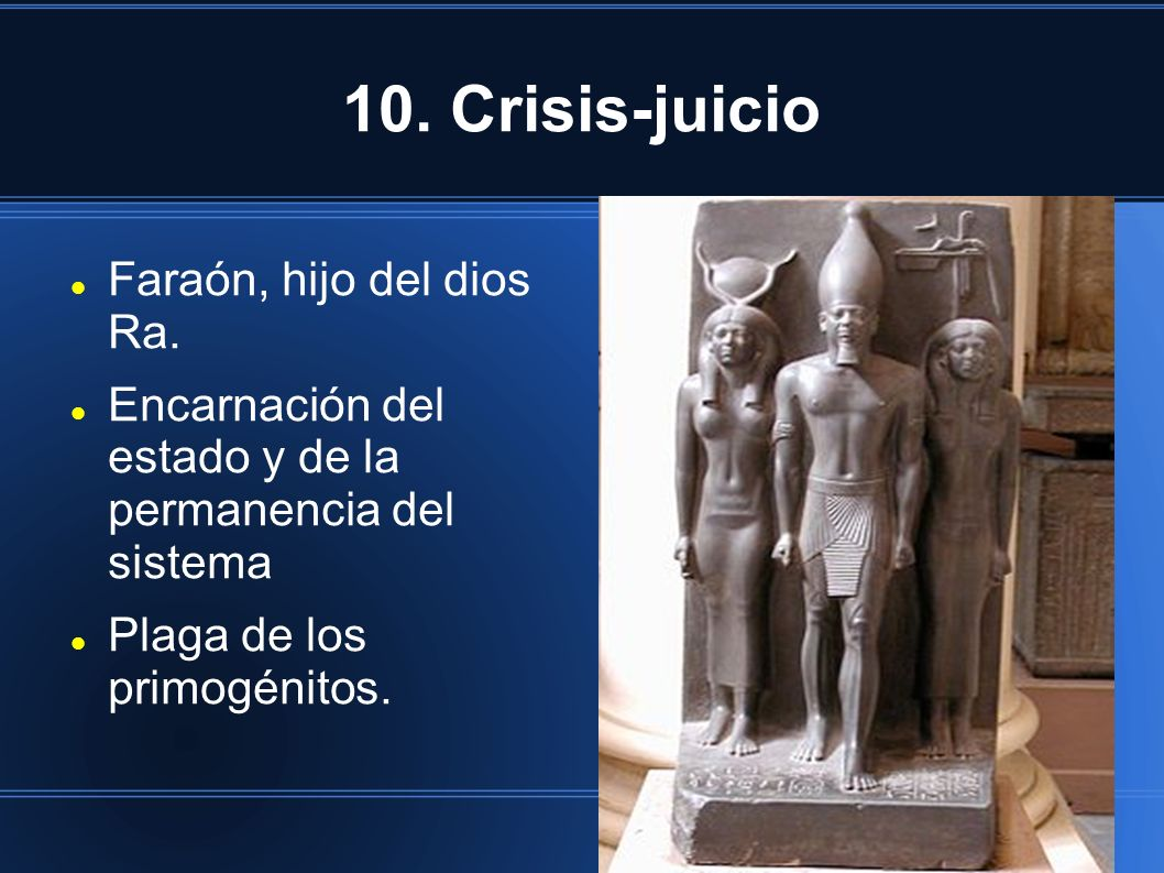 10. Crisis-juicio Faraón, hijo del dios Ra.