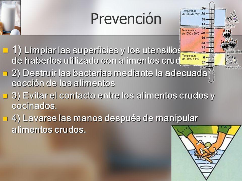 Prevención 1) Limpiar las superficies y los utensilios después de haberlos utilizado con alimentos crudos.