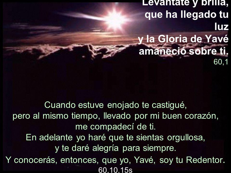 Levántate y brilla, que ha llegado tu luz y la Gloria de Yavé amaneció sobre ti. 60,1