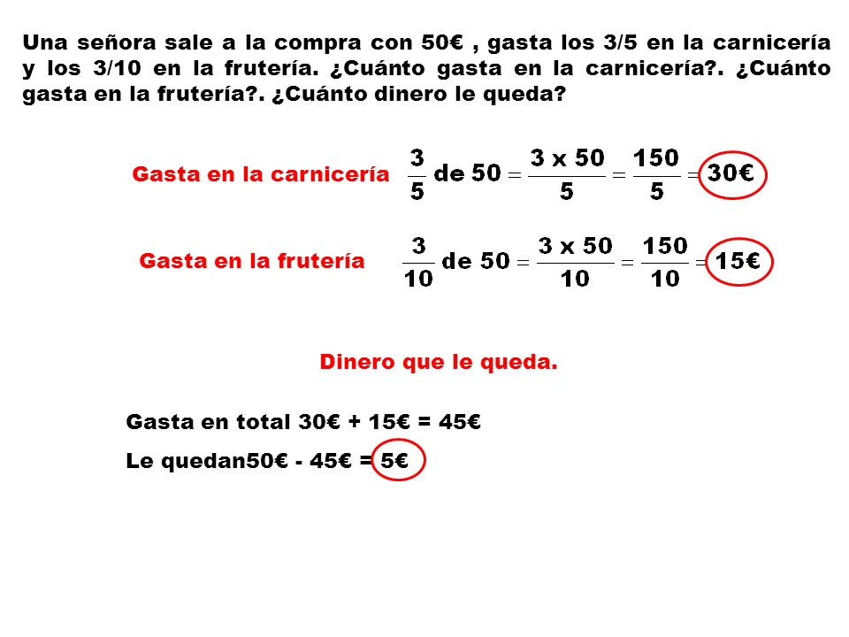 Una señora sale a la compra con 50€ , gasta los 3/5 en la carnicería y los 3/10 en la frutería. ¿Cuánto gasta en la carnicería . ¿Cuánto gasta en la frutería . ¿Cuánto dinero le queda