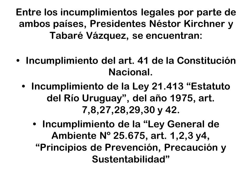 Incumplimiento del art. 41 de la Constitución Nacional.