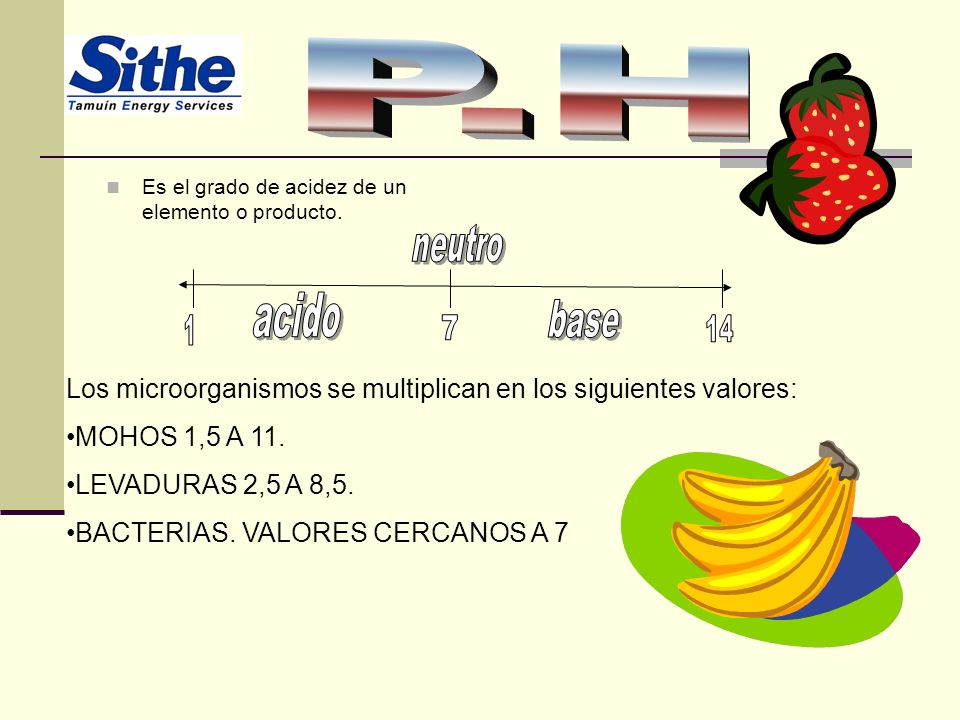 P.H base Los microorganismos se multiplican en los siguientes valores: