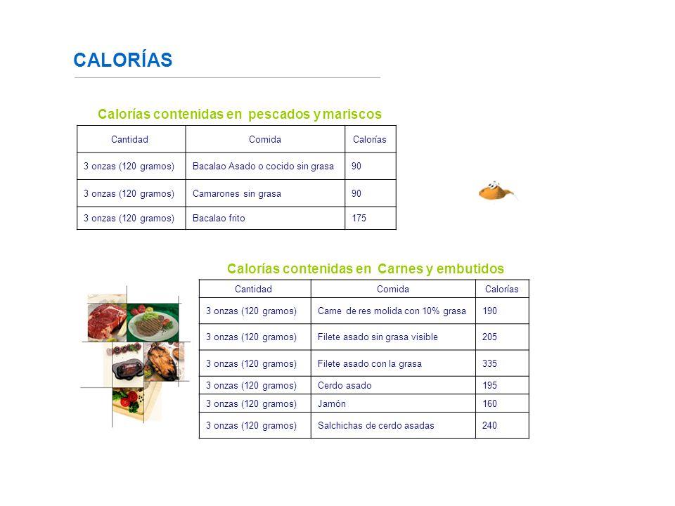 CALORÍAS Calorías contenidas en pescados y mariscos