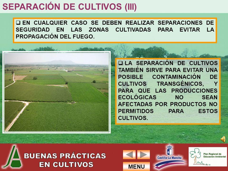 SEPARACIÓN DE CULTIVOS (III)