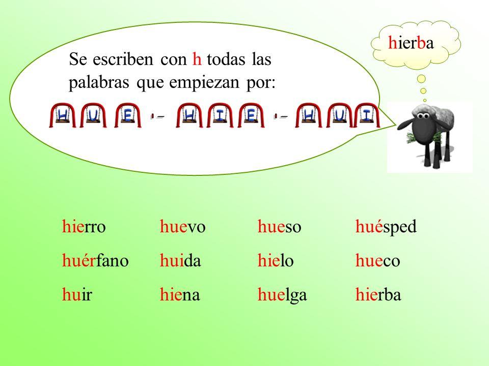 - - hierba Se escriben con h todas las palabras que empiezan por:
