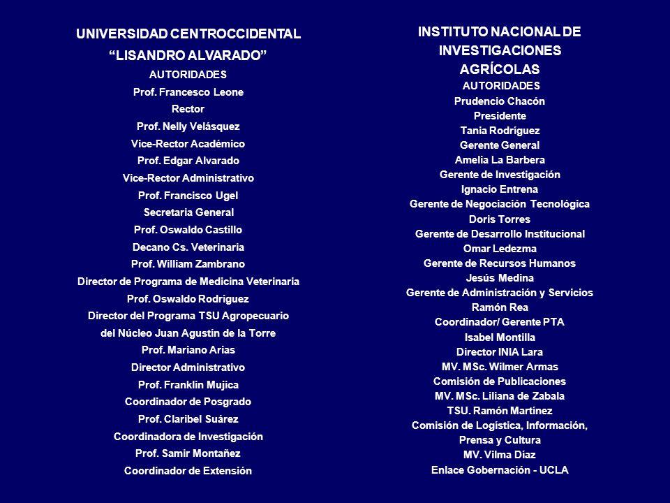 INSTITUTO NACIONAL DE INVESTIGACIONES AGRÍCOLAS