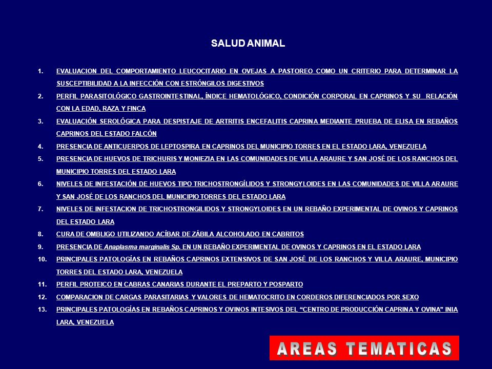 AREAS TEMATICAS SALUD ANIMAL