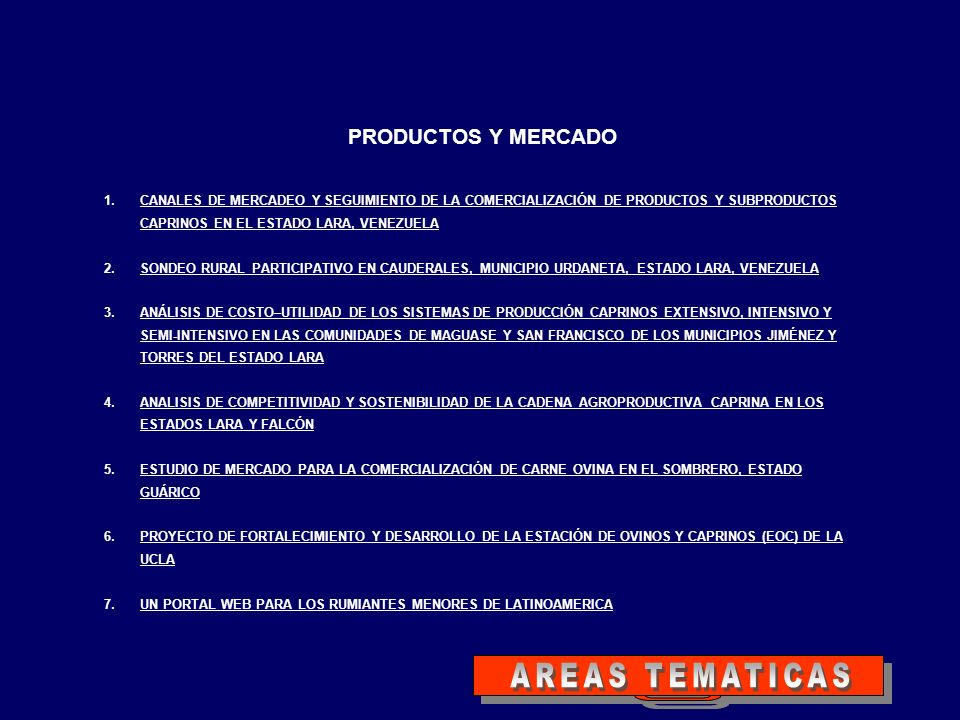 AREAS TEMATICAS PRODUCTOS Y MERCADO