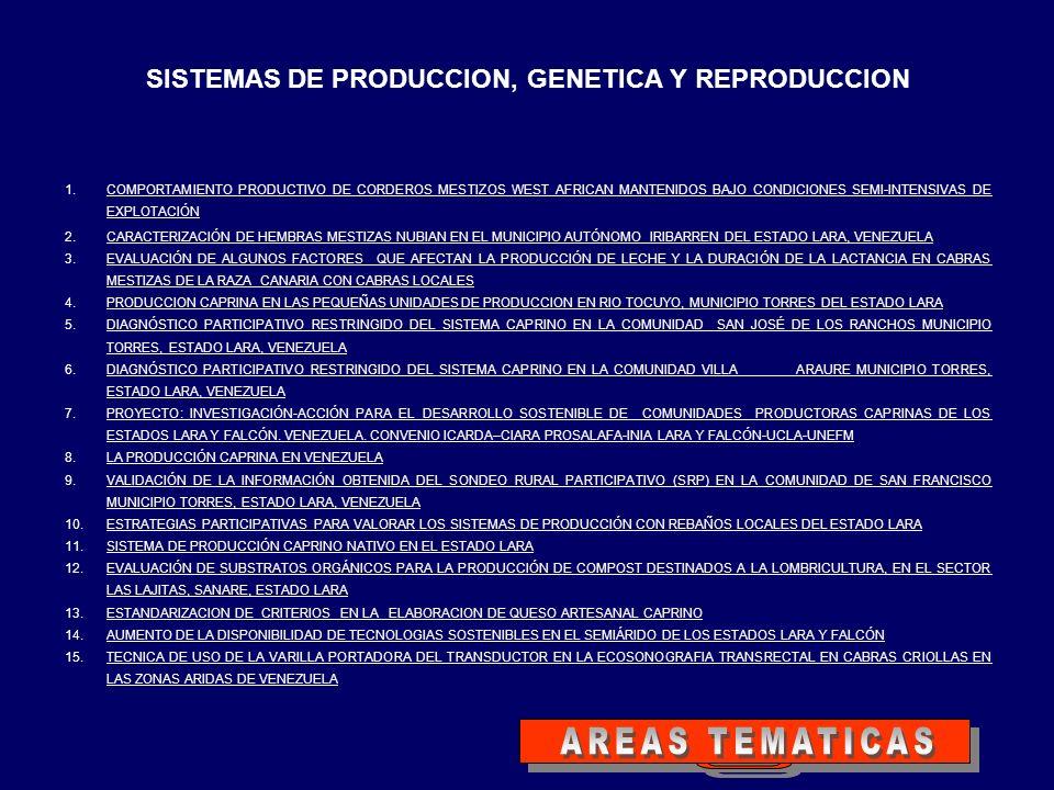 SISTEMAS DE PRODUCCION, GENETICA Y REPRODUCCION