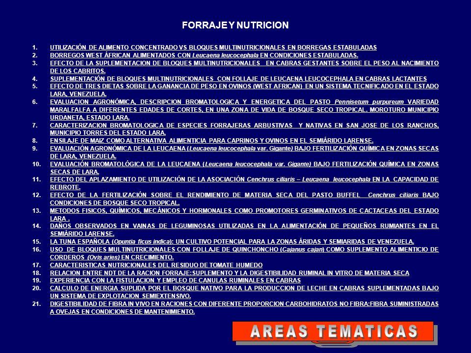 AREAS TEMATICAS FORRAJE Y NUTRICION