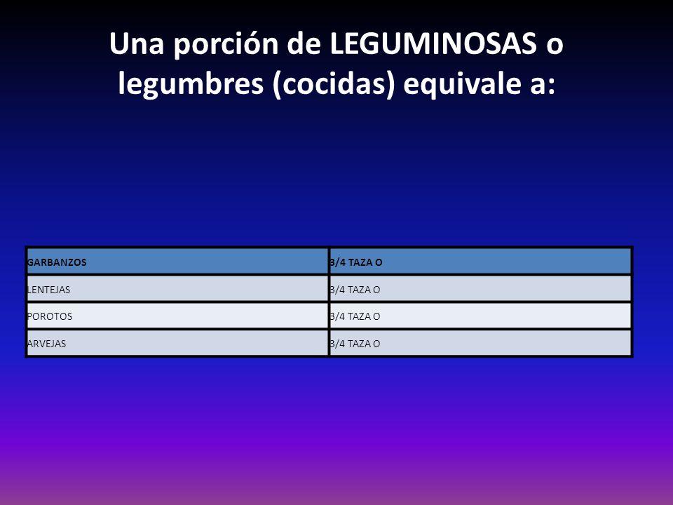 Una porción de LEGUMINOSAS o legumbres (cocidas) equivale a: