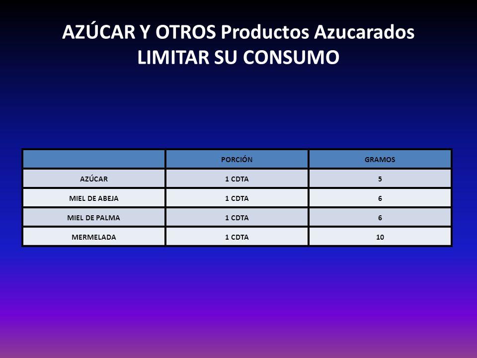AZÚCAR Y OTROS Productos Azucarados LIMITAR SU CONSUMO