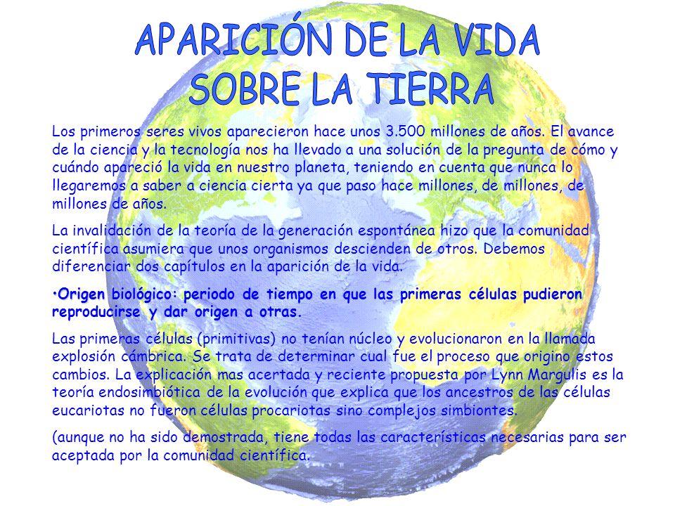 APARICIÓN DE LA VIDA SOBRE LA TIERRA