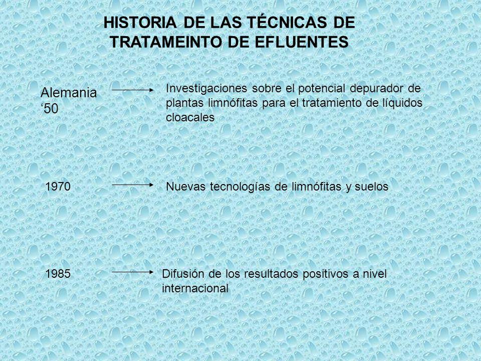 HISTORIA DE LAS TÉCNICAS DE TRATAMEINTO DE EFLUENTES