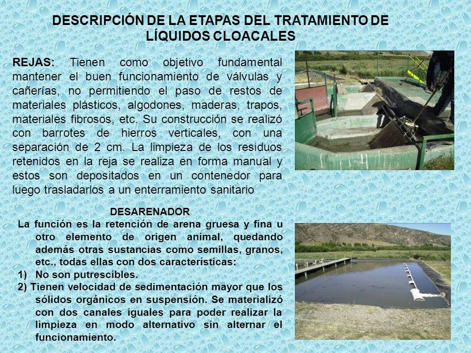 DESCRIPCIÓN DE LA ETAPAS DEL TRATAMIENTO DE LÍQUIDOS CLOACALES