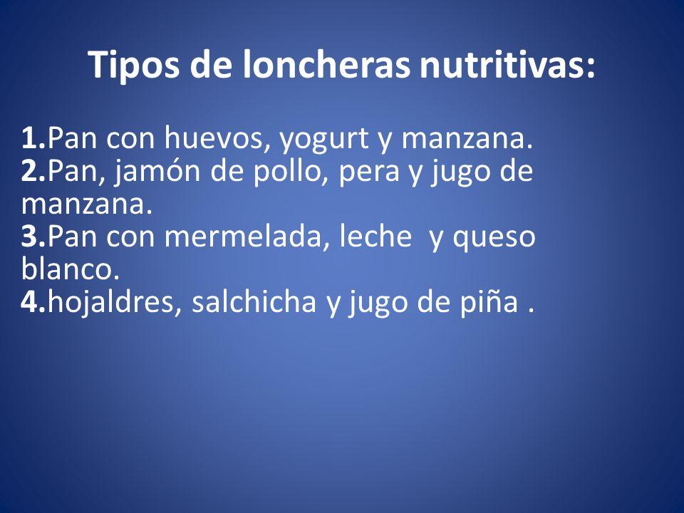 Tipos de loncheras nutritivas: