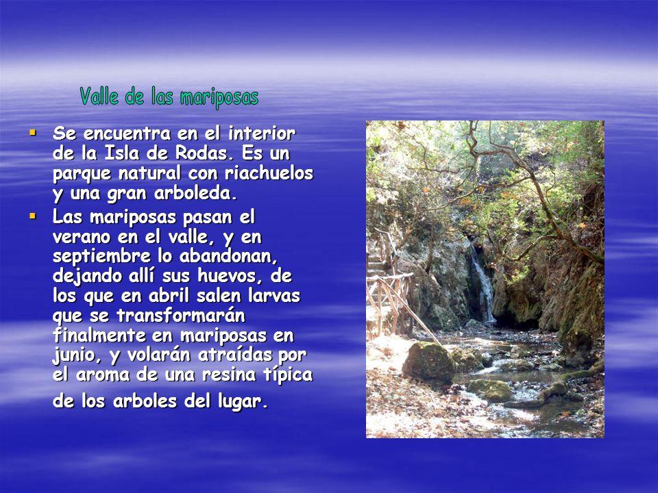Valle de las mariposas Se encuentra en el interior de la Isla de Rodas. Es un parque natural con riachuelos y una gran arboleda.
