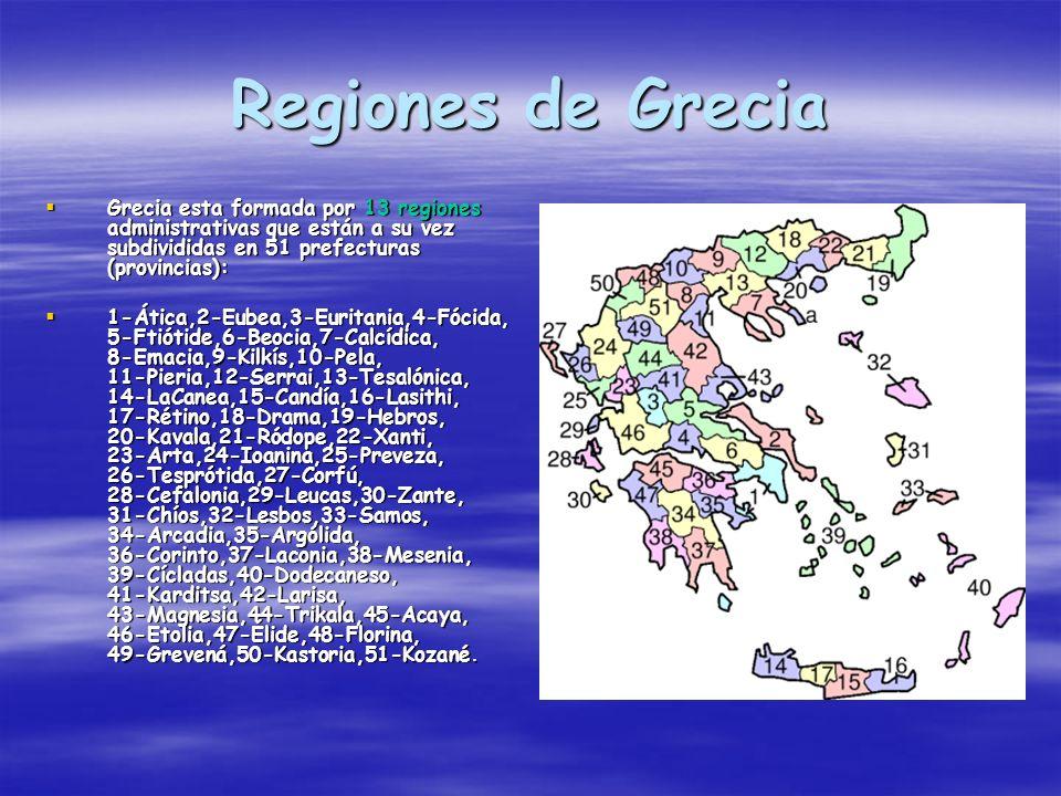 Regiones de Grecia Grecia esta formada por 13 regiones administrativas que están a su vez subdivididas en 51 prefecturas (provincias):