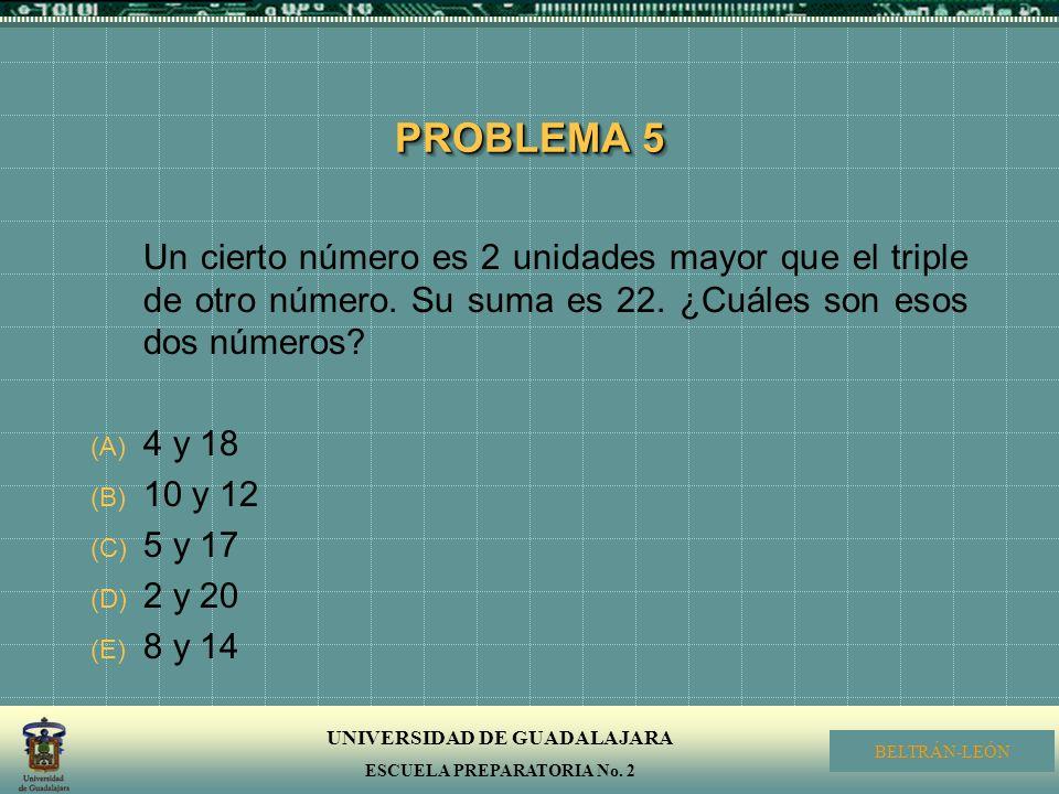 PROBLEMA 5 Un cierto número es 2 unidades mayor que el triple de otro número. Su suma es 22. ¿Cuáles son esos dos números