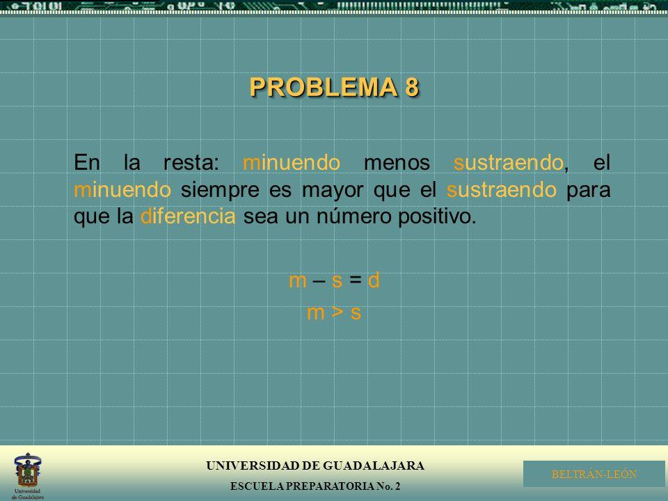 PROBLEMA 8 En la resta: minuendo menos sustraendo, el minuendo siempre es mayor que el sustraendo para que la diferencia sea un número positivo.