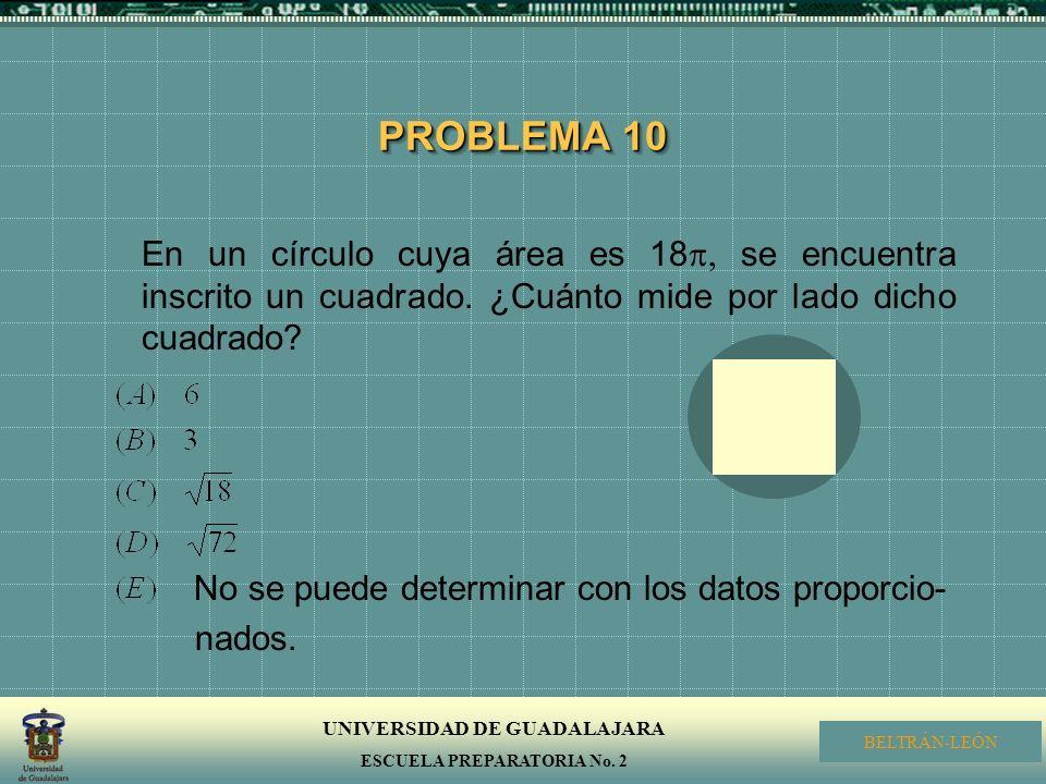 PROBLEMA 10 En un círculo cuya área es 18, se encuentra inscrito un cuadrado. ¿Cuánto mide por lado dicho cuadrado