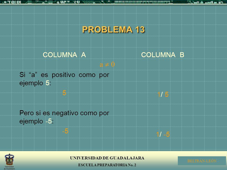 PROBLEMA 13 a  0 COLUMNA A Si a es positivo como por ejemplo 5: 5