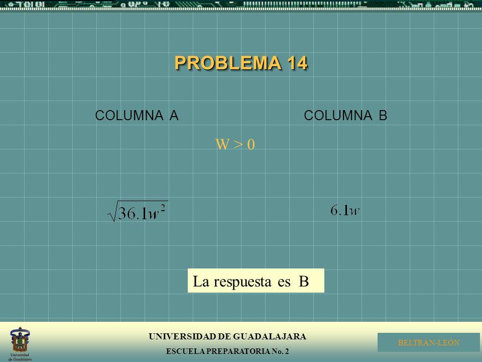 PROBLEMA 14 COLUMNA A COLUMNA B W > 0 La respuesta es B