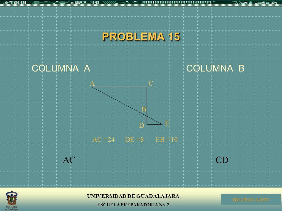 PROBLEMA 15 COLUMNA A COLUMNA B. A. C. B. D. E. AC =24.
