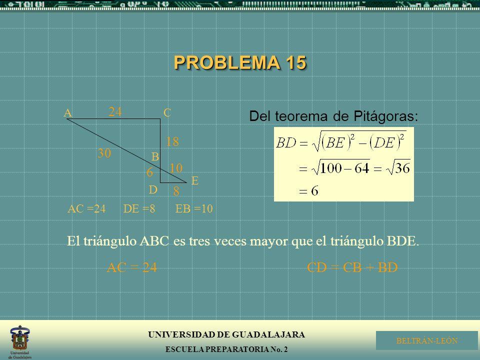 PROBLEMA 15 Del teorema de Pitágoras:
