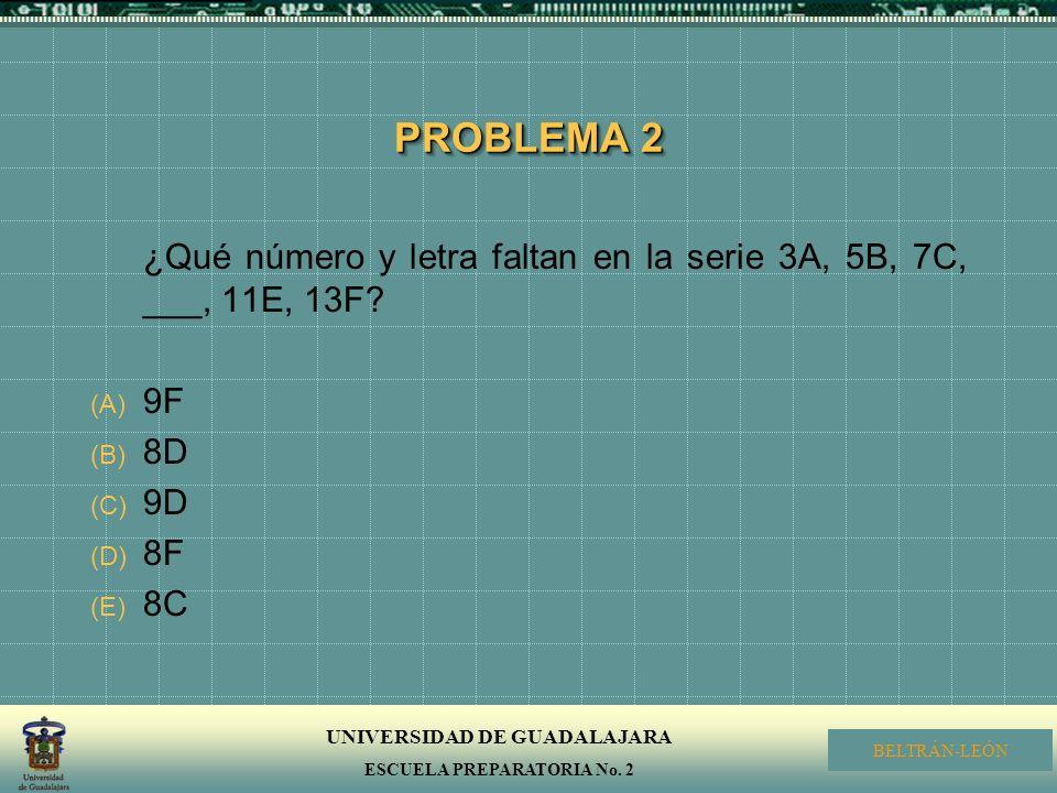 PROBLEMA 2 ¿Qué número y letra faltan en la serie 3A, 5B, 7C, ___, 11E, 13F 9F 8D 9D 8F 8C