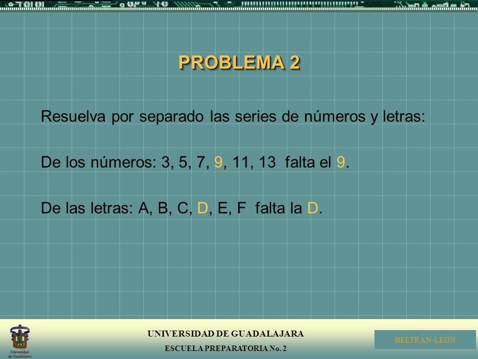 PROBLEMA 2 Resuelva por separado las series de números y letras: