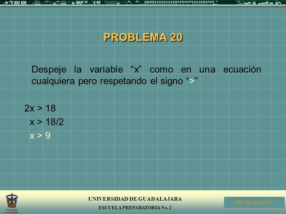 PROBLEMA 20 Despeje la variable x como en una ecuación cualquiera pero respetando el signo > 2x > 18.