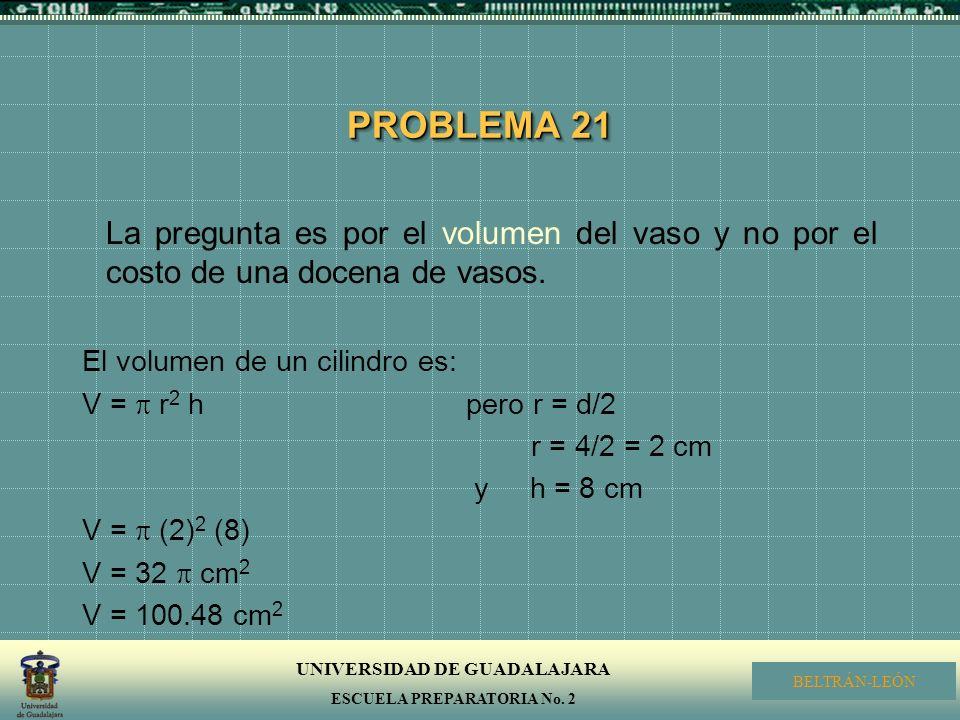 PROBLEMA 21 La pregunta es por el volumen del vaso y no por el costo de una docena de vasos. El volumen de un cilindro es:
